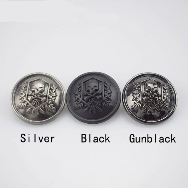 Black Skull Shank Buttons 10 pieces