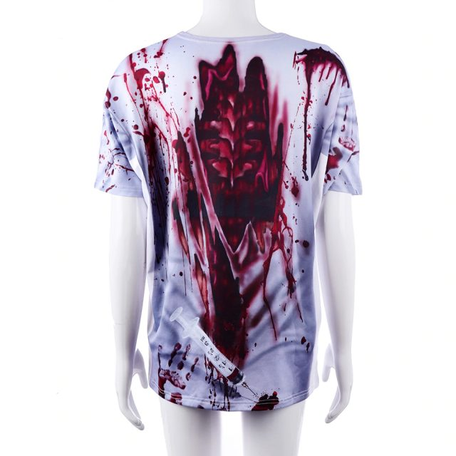 Adult Scary Bloody Printed 3D Costume Nurse Doctor Tshirt