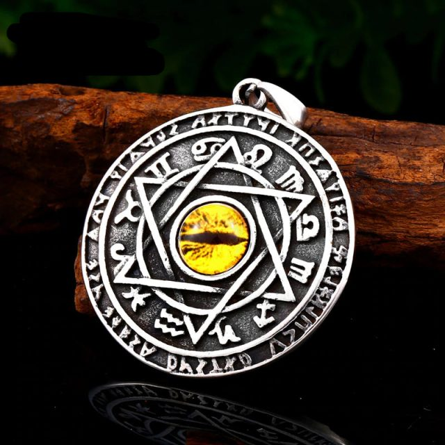 Yellow zircon Pentagram  Pendant